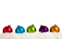 white för grupp för baublesjul färgrik Royaltyfria Bilder