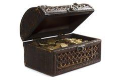 white för guld för bakgrundsbröstkorgmynt isolerad Royaltyfri Bild