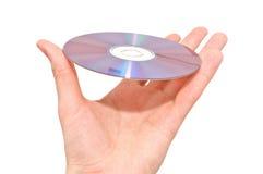 white för hand för bakgrund cd isolerad holding Arkivfoton