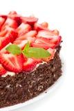white för jordgubbe för bakgrundscake platta tjänad som Arkivbild