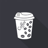 white för kaffekopp gears symbolen royaltyfri illustrationer