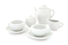 white för kaffeset Fotografering för Bildbyråer