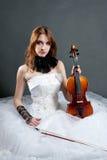 white för klänningflickafiol Royaltyfri Fotografi