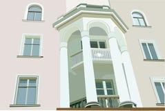 white för kolonnfacadehus Vektor Illustrationer