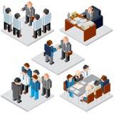 white för kontor för livstid för bild för bakgrund 3d Affärsförhållande Isometrisk vektor Royaltyfri Fotografi