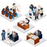 white för kontor för livstid för bild för bakgrund 3d Affärsförhållande Isometrisk vektor stock illustrationer