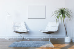 white för konversationavkopplinglokal Arkivbild