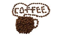 white för kopp för kaffe för bakgrundsbönor brun Arkivfoton