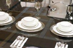 white för lyx för formgivare äta middag set Royaltyfri Foto