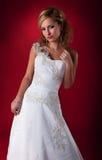 white för mode för brudklänningmodell Fotografering för Bildbyråer