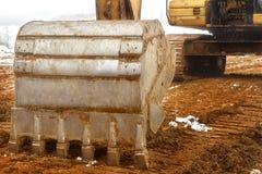 white för objekt för maskineri för bakgrundskonstruktion grävskopa isolerad Royaltyfria Foton