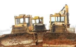 white för objekt för maskineri för bakgrundskonstruktion grävskopa isolerad Arkivfoto
