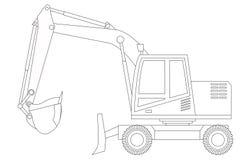 white för objekt för maskineri för bakgrundskonstruktion grävskopa isolerad grävskopa färga för barn Arkivfoto