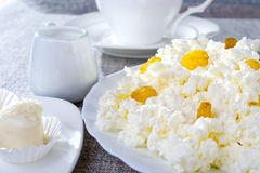 white för oststugaplatta Royaltyfri Foto
