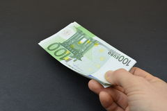 white för pengar för bakgrundseuro hand isolerad Fotografering för Bildbyråer