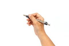 white för penna för bakgrundshand holding isolerad Arkivbilder