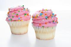 white för pink två för muffin gourmet isolerad Royaltyfri Fotografi