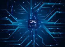 white för processor för modell för dator 3d Bräde för elektronisk strömkrets för CPU-chip med processorn också vektor för coreldr Royaltyfri Bild