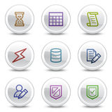 white för rengöringsduk för symboler för databas för knappcirkelfärg Arkivbild
