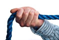 white för rep för blå begreppshand male Arkivbild