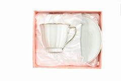 white för saucer för askkopppink Royaltyfria Bilder