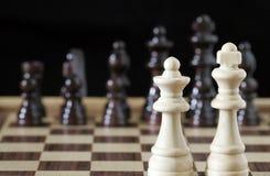 white för schackkonungdrottning Royaltyfri Bild