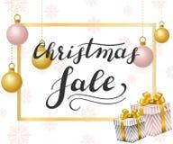 white för shopping för försäljning för bakgrundsjulflicka lycklig Bokstäver med guld-, vita och rosa bollar vektor illustrationer