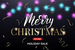 white för shopping för försäljning för bakgrundsjulflicka lycklig Design för Xmas-banerorientering med julljus, konfettier och bo vektor illustrationer
