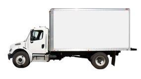 white för sikt för leveranssidolastbil Arkivfoto