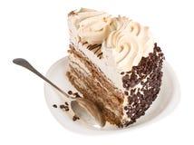 white för sked för cakestyckplatta Fotografering för Bildbyråer