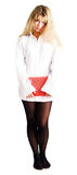 white för skjorta för confused flicka för bok röd arkivfoto