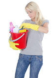 white för stående för cleaningbegreppsflicka Royaltyfri Fotografi