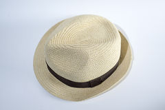 white för sugrör för bana för bakgrundsclipping hatt isolerad Fotografering för Bildbyråer