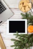 white för tablet för illustration för bakgrundsdatordesign anteckningsbok ljusa mandarins för filialsäsong för bakgrund blå vinte Royaltyfri Bild