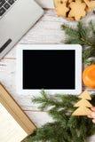 white för tablet för illustration för bakgrundsdatordesign anteckningsbok ljusa mandarins Pappers- etikett på band Royaltyfri Fotografi