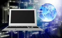 white för teknologi för bärbar dator för bakgrund dator isolerad modern Royaltyfri Bild