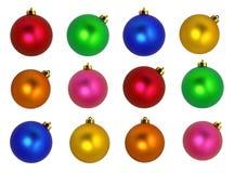 white för tree för prydnadar för jul för bakgrundsboll ljus Royaltyfria Foton