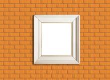 white för vägg för tegelstenrambild Arkivfoto