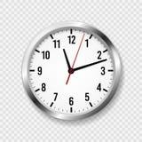 white f?r kontor f?r bakgrundsklockaillustration realistisk Den runda moderna väggen håller ögonen på med tidpilar och klockafram stock illustrationer