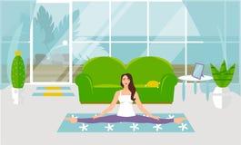 white f?r vektor f?r bakgrundsillustrationhaj Asanas med tvinnar i yoga Härlig ung kvinna som gör gymnastisk sträckning vektor illustrationer