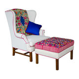 White Fabric armchair and stool Stock Image