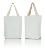 White fabric bag. On white background Royalty Free Stock Photography