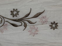 White fabric with embroidery Royalty Free Stock Images
