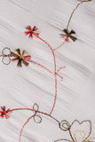 White fabric with floral embroidery Royalty Free Stock Image