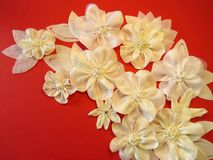 White fabric flowers Stock Photos