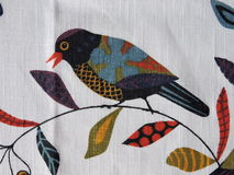 White fabric with painted bird Royalty Free Stock Images