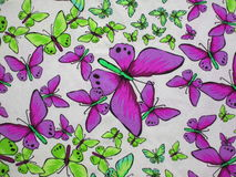 White fabric with painted butterflies Royalty Free Stock Image