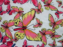 White fabric with painted butterflies Royalty Free Stock Images