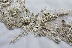 White fabric pieces, lace, design dresses, clothing for celebrations Royalty Free Stock Photo