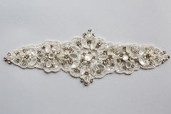 White fabric pieces, lace, design dresses, clothing for celebrations Royalty Free Stock Photos